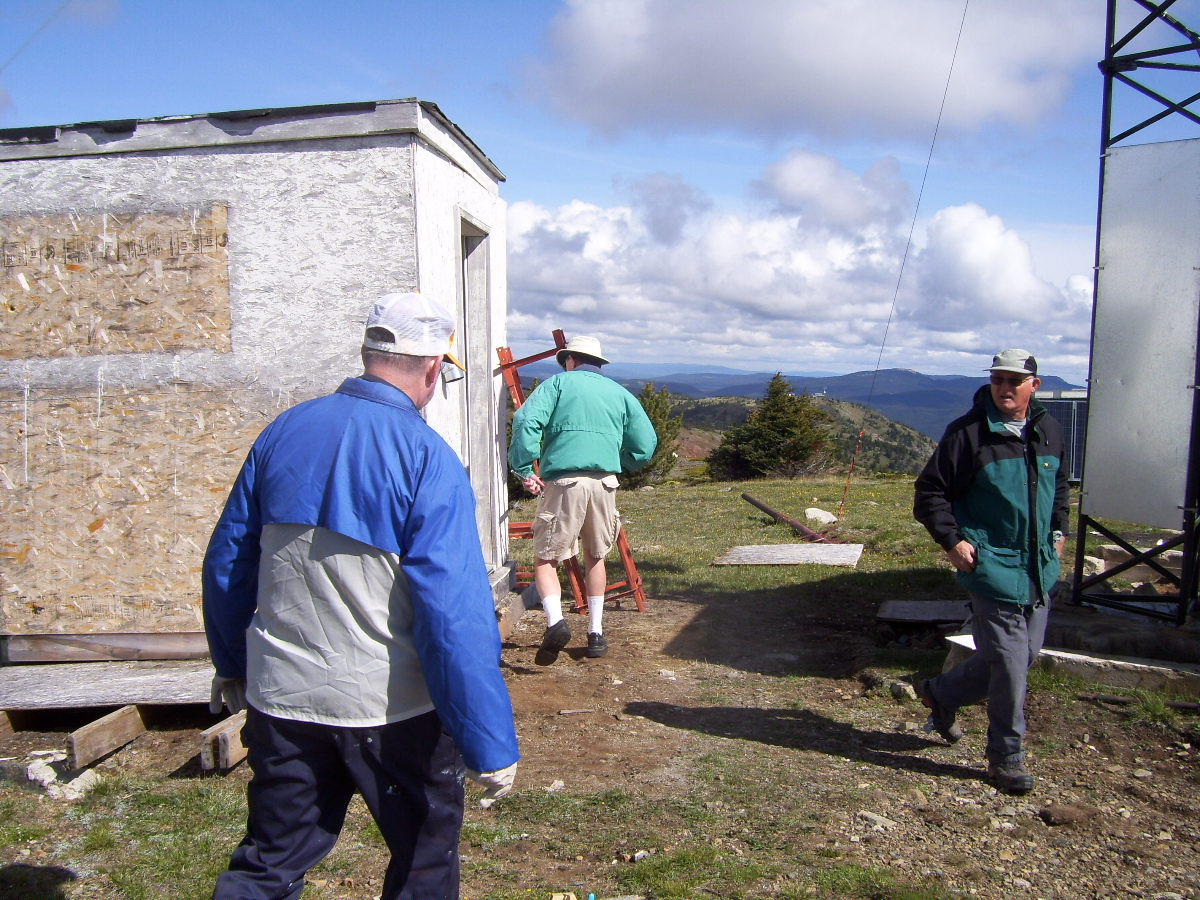 The working party inspecting the new shack.