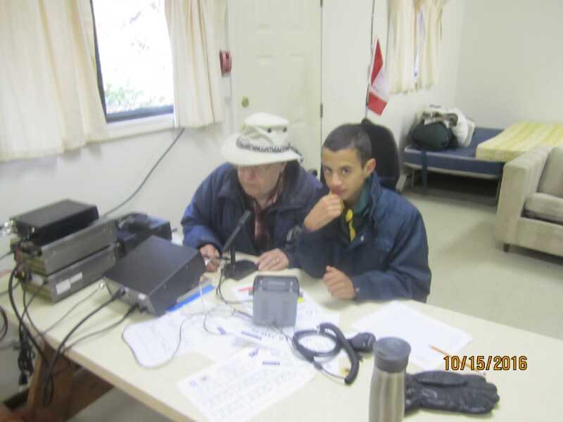 Doug with Scout on HF radio display.